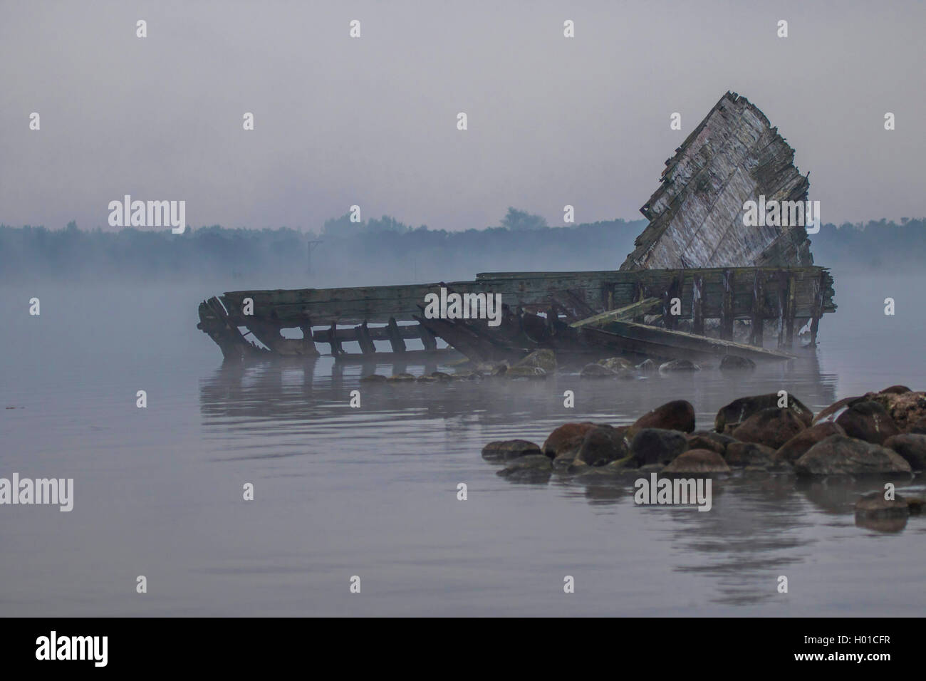 shipwreck in Breitling, Germany, Mecklenburg-Western Pomerania, Schnatermann, Rostock Stock Photo