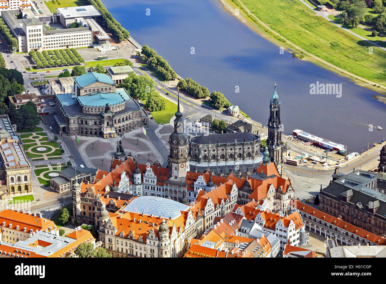 Innenstadt von Dresden Hofkirche und Semperoper, 20.06.2016, Luftbild, Deutschland, Sachsen, Dresden   inner city Stock Photo