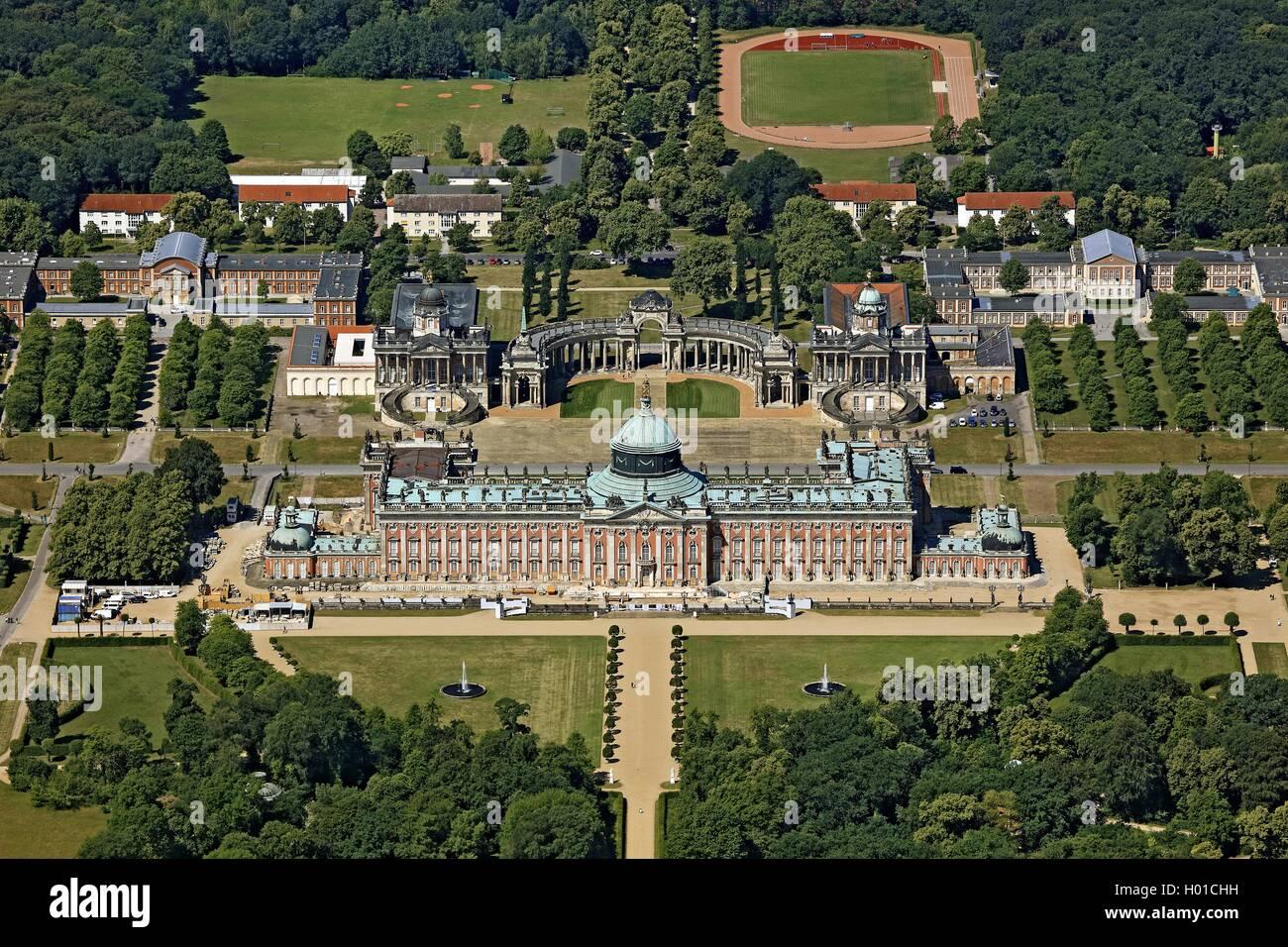 Neues Palais im Park von Schloss Sanssouci, Universitaet Potsdam, 20.06.2016, Luftbild, Deutschland, Brandenburg, Stock Photo