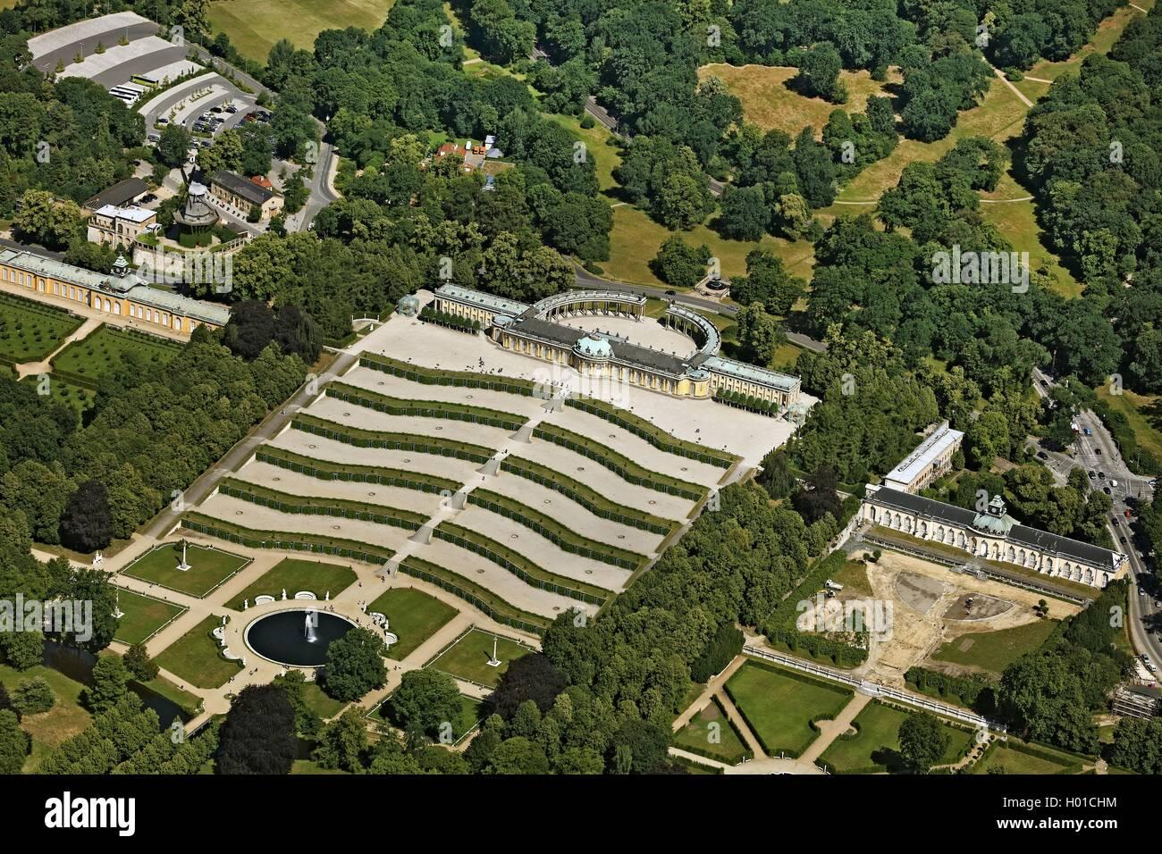Schloss Sanssouci, 20.06.2016, Luftbild, Deutschland, Brandenburg, Potsdam | castle Sanssouci, 20.06.2016, aerial Stock Photo