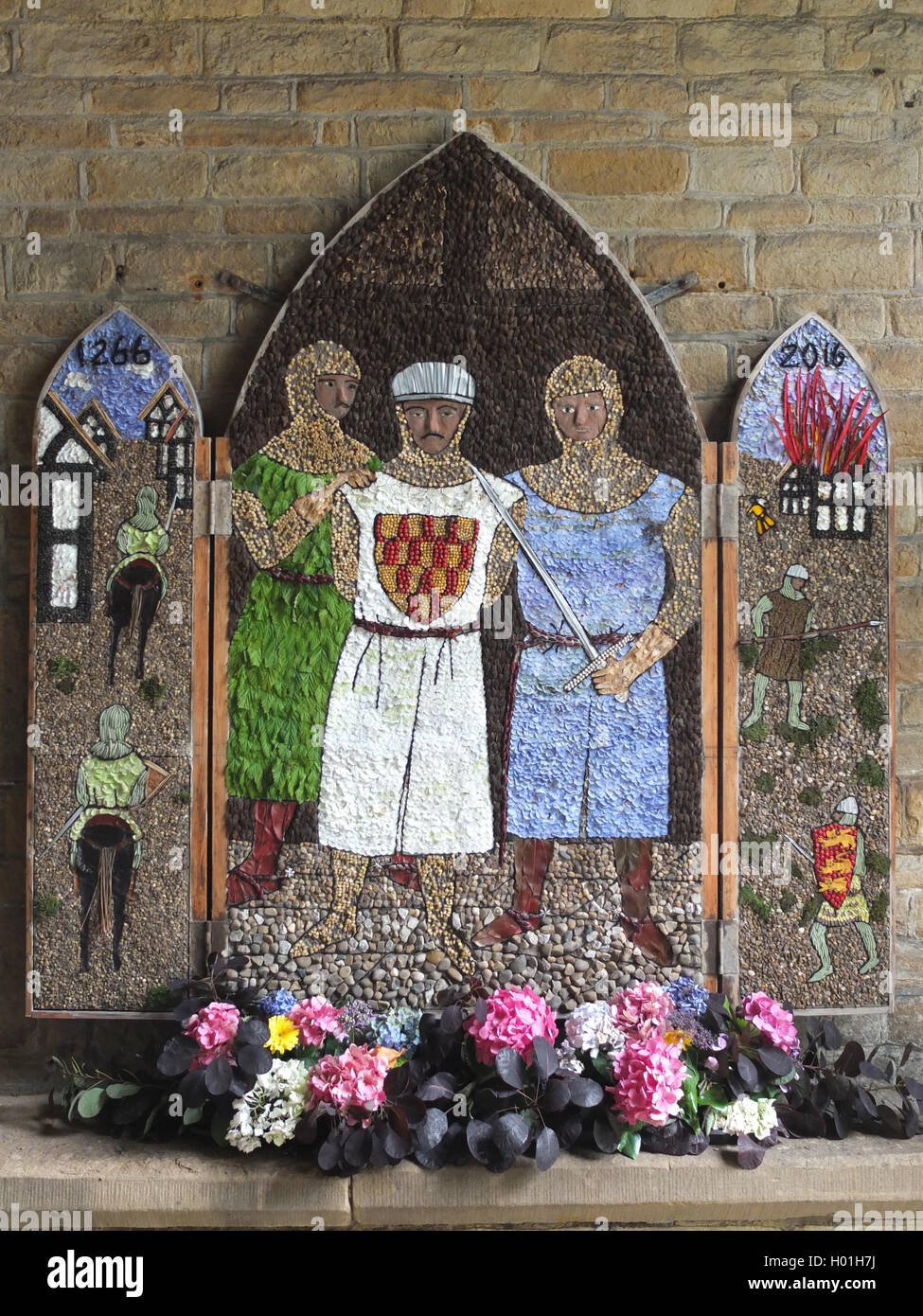 A well dressing at the Crooked Spire in Chesterfield depicting the 750th anniversary of the Battle of Chesterfield. Stock Photo