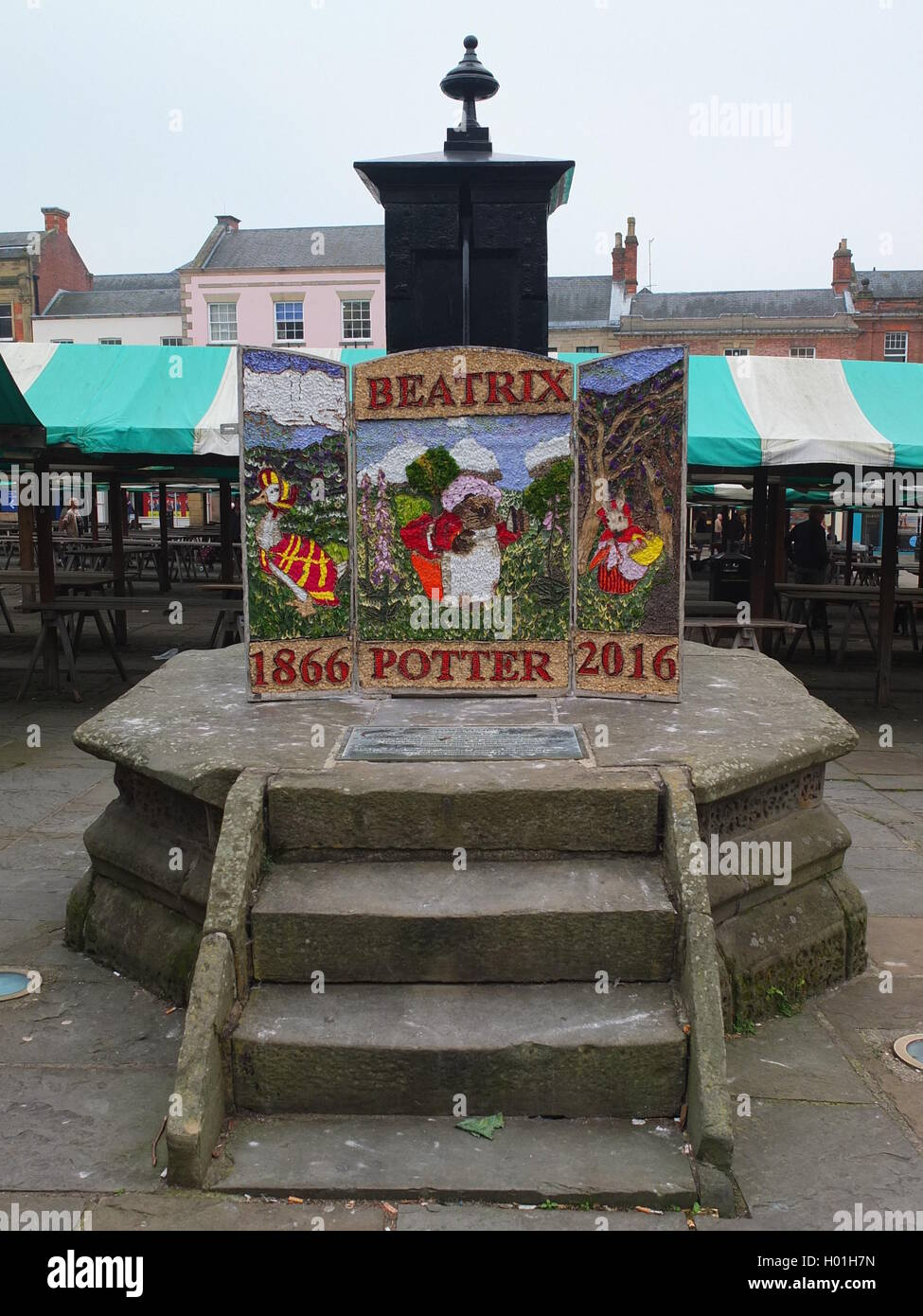 A well dressing at the pump at the Market Place in Chesterfield depicting the 150th anniversary of the birth of Stock Photo