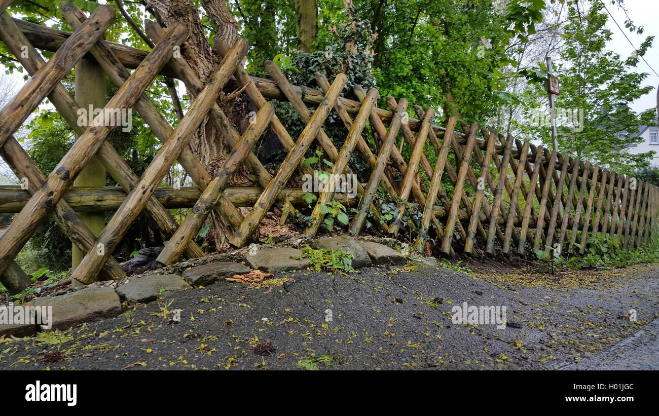 Jaegerzaun und Asphaltschaeden durch Baumwurzeln, Deutschland | rustic fence and damaged sidewalk caused by tree Stock Photo