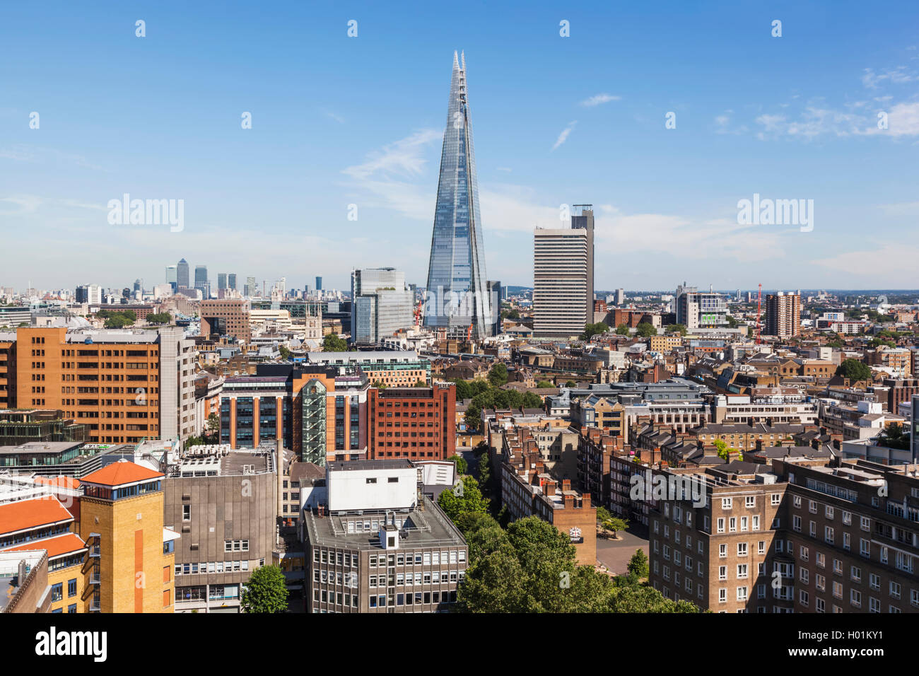 England, London, View of Southwark and The Shard from Tate Modern - Stock Image