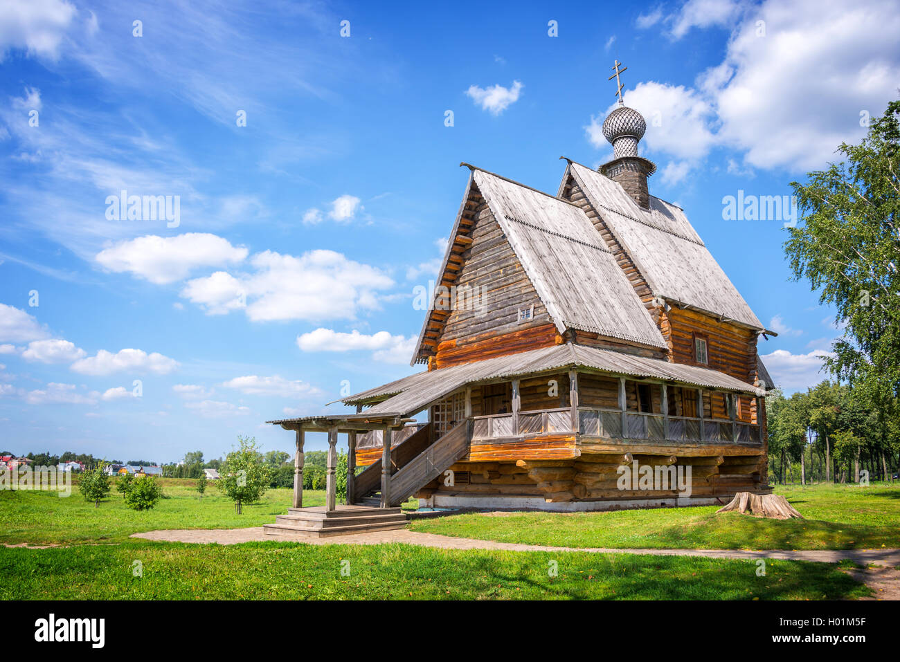 Wooden church of St. Nicholas in Suzdal, Golden Ring, Russia - Stock Image