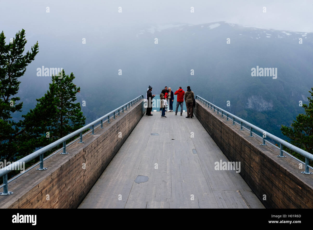 Stegastein Viewpoint with tourists , Aurlandsfjord, Norway - Stock Image