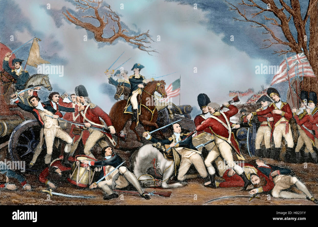 American Revolutionary War (1775-1783). The Battle of Princeton (January 3,  1777). The General George Washington's revolutionary forces defeated  British ...