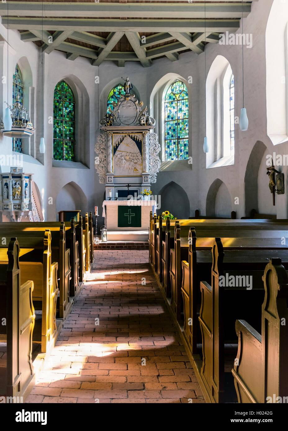 Klosterkirche Protestant Parish Church building interior,  Himmelpfort (Heaven's Gate), Brandenburg, Germany - Stock Image