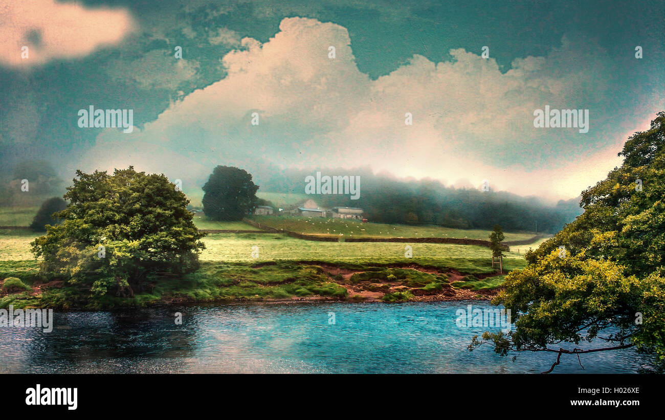 a beautiful English landscape with a river and farmhouse Stock Photo