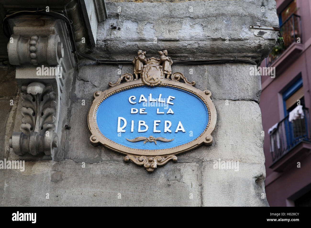Street sign Calle de la Ribera in the old town Casco Viejo of Bilbao Basque Country Spain Europe - Stock Image