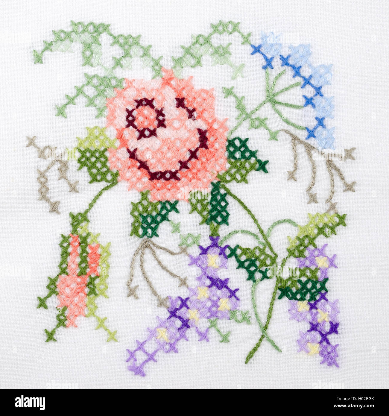 Embroidery Flowers Hand Stock Photos Embroidery Flowers Hand Stock
