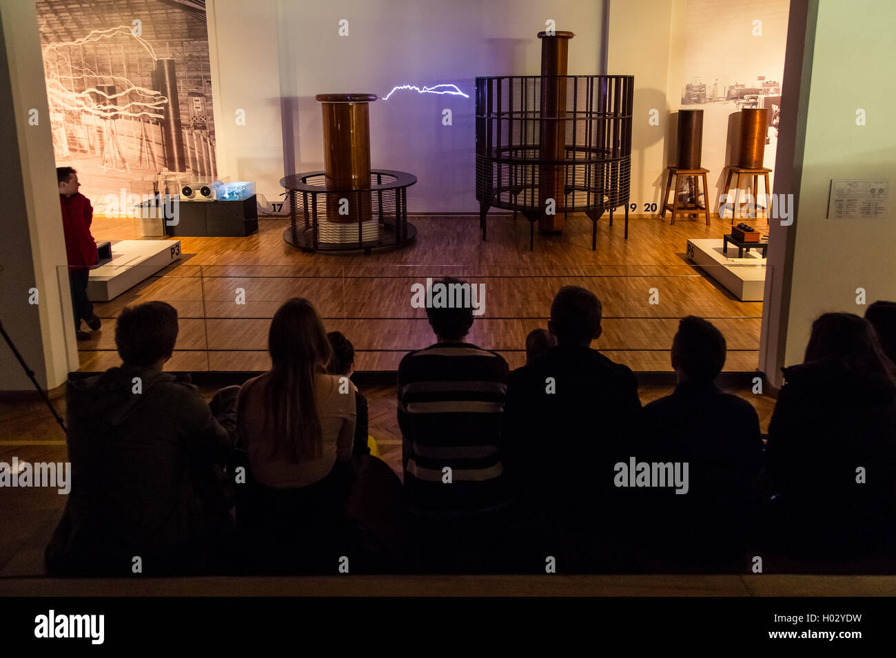 ZAGREB, CROATIA - 17 MARCH 2015: Museum staff showing an exibition to visitors in the Tesla part of the museum in - Stock Image