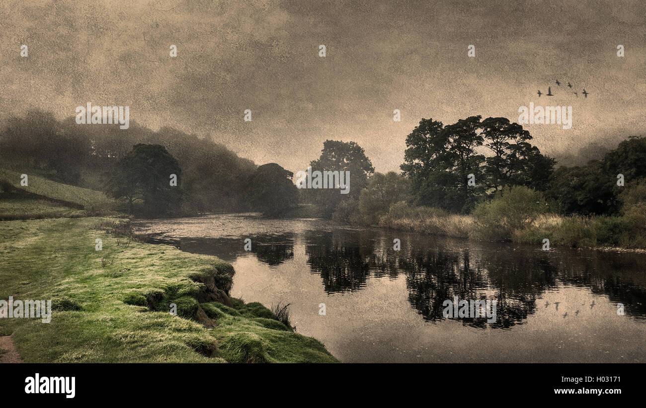 beautiful artistic landscape with river in Yorkshire dales - Stock Image