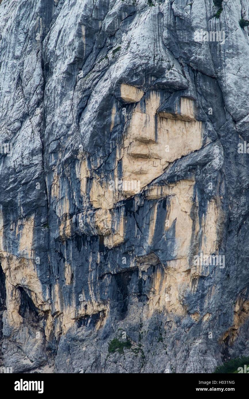 Pagan Girl rock formation closeup near the mountain pass Vrsic in Slovenia - Stock Image
