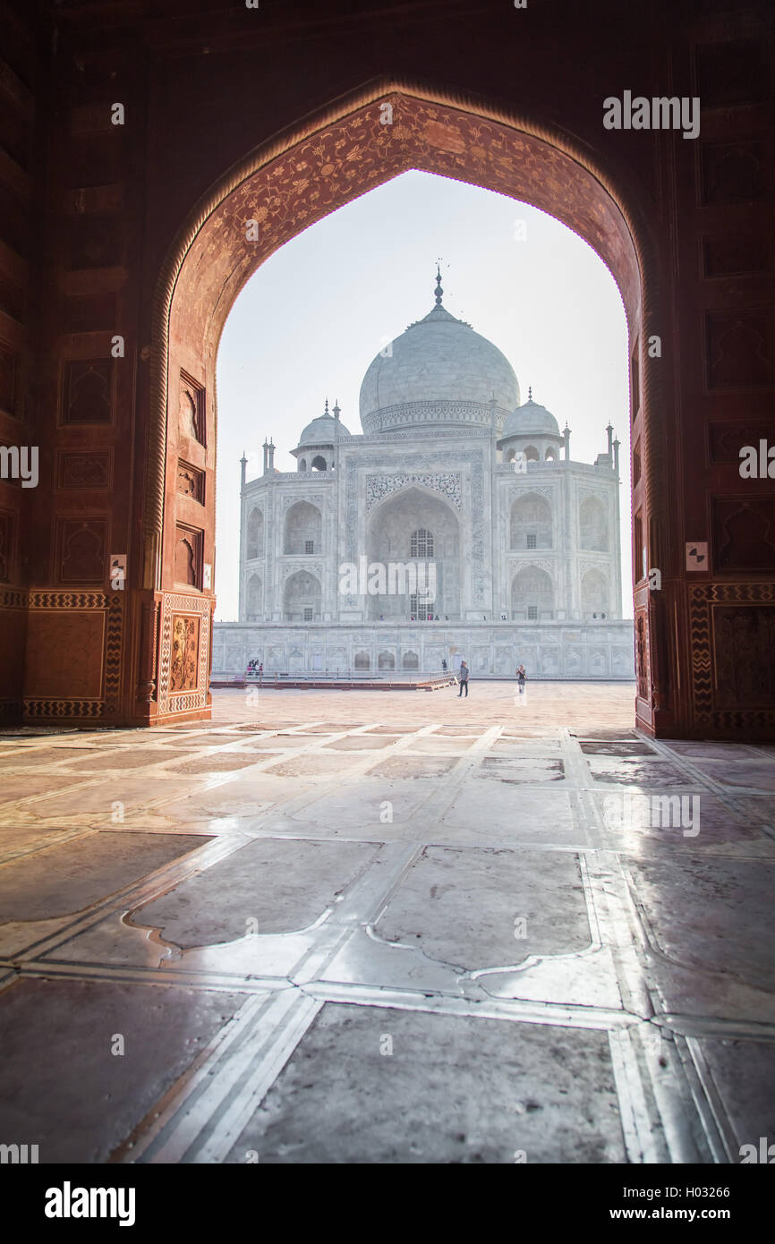 View of Taj Mahal from mosque. West side. - Stock Image