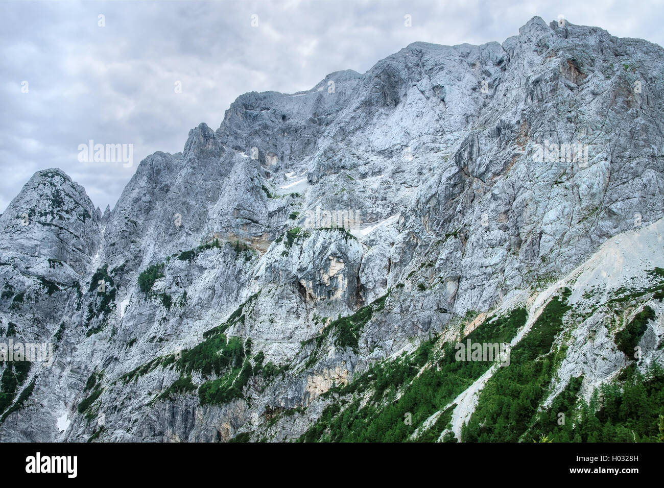 Pagan Girl rock formation on the side of Mount Prisank in Slovenia - Stock Image