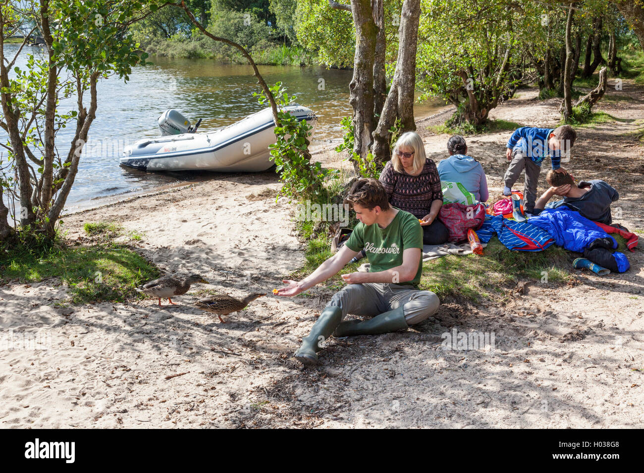 A family boating party picnicking on the island of Inchcailloch in Loch Lomond, Argyll & Bute, Scotland UK - Stock Image