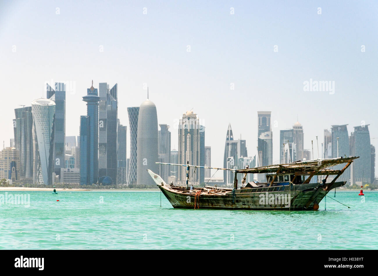 Dhow harbour in Doha, Qatar - Stock Image