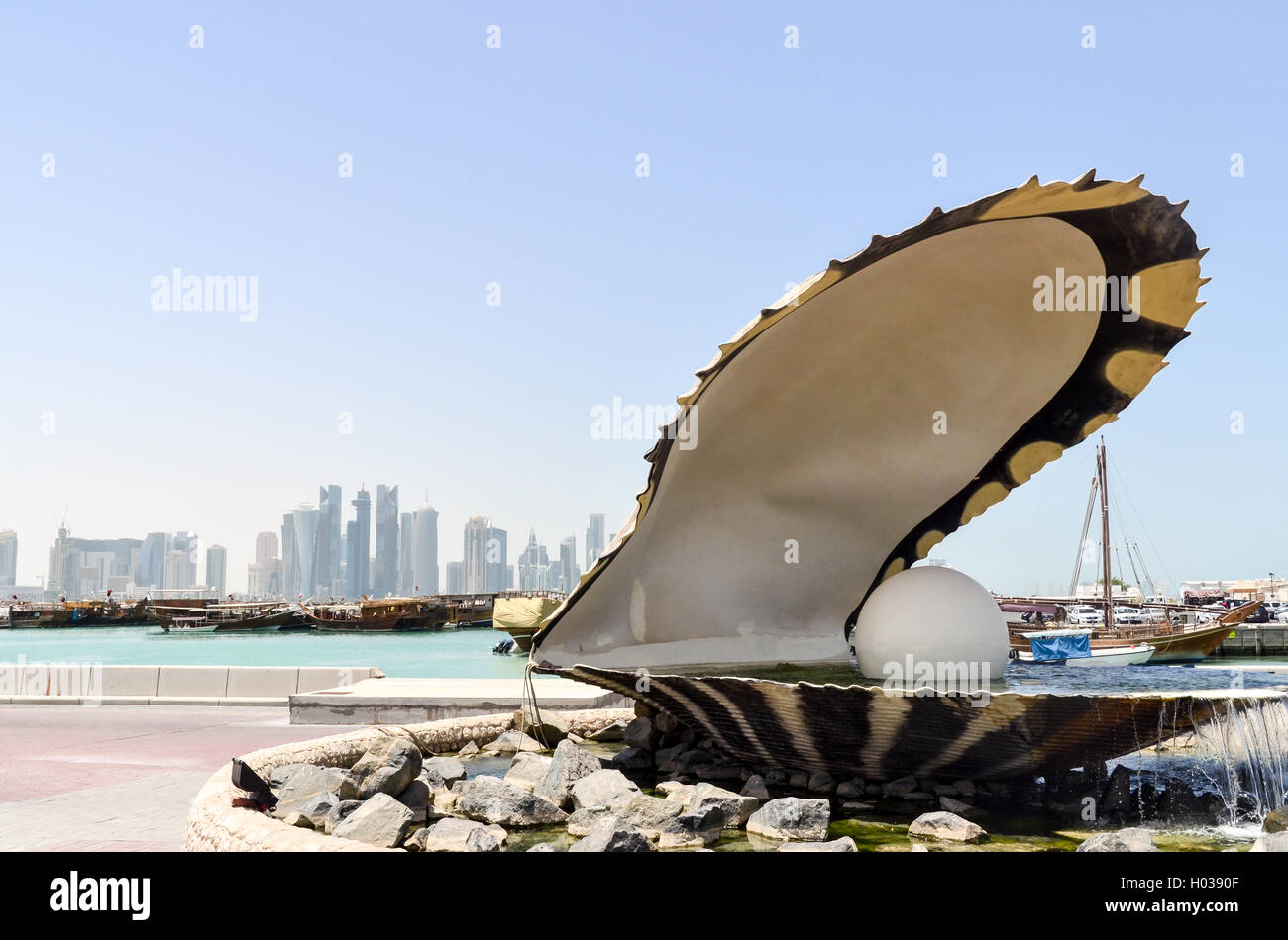 The Pearl statue, icon of Doha and Qatar - Stock Image