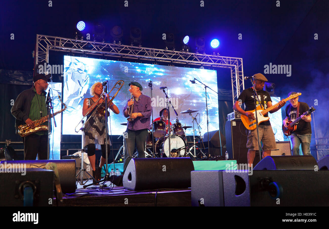 The Mighty Comics performing on the iD Mobile Stage at the OnBlackheath Music Festival 2016 - Stock Image