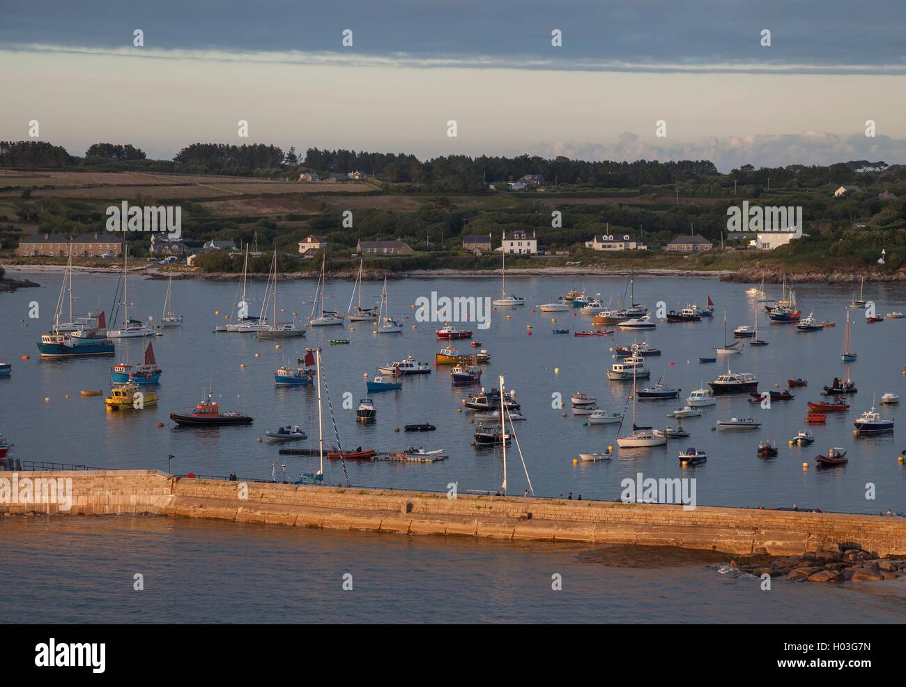 Evening time at St Mary's Harbour, Isles of Scilly, England - Stock Image