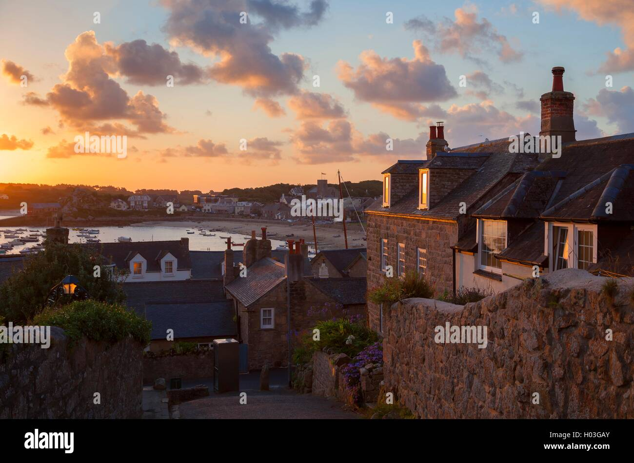 Hugh Town at dawn, St Mary's, Isles of Scilly, England - Stock Image