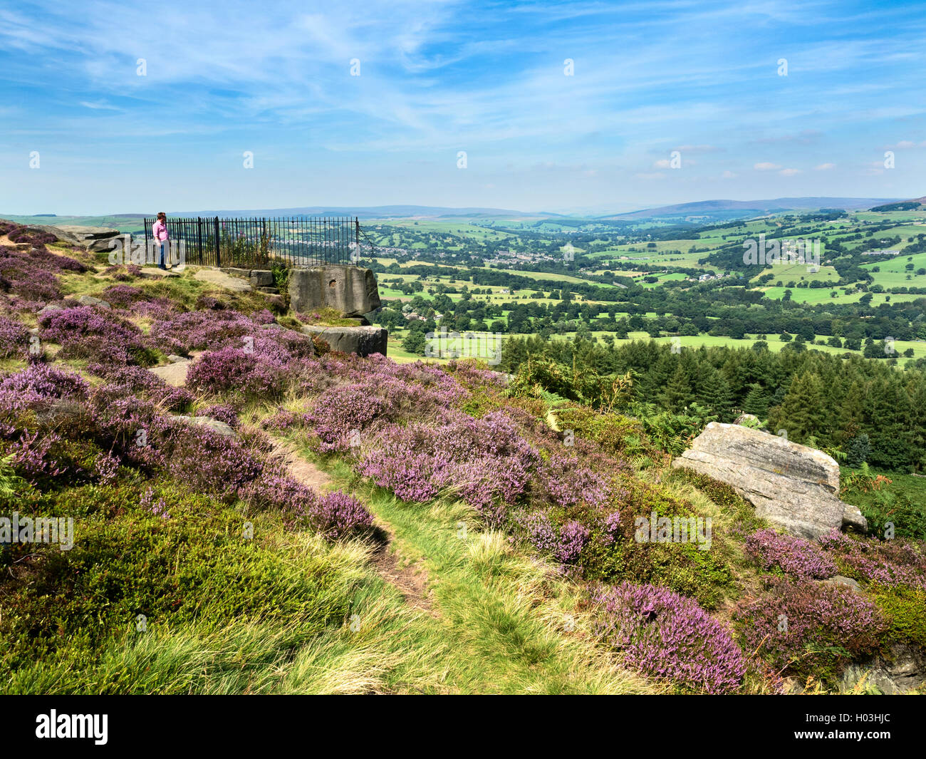 View over Wharfedale from the Swastika Stone at Woodhouse Crag Ilkley Moor West Yorkshire England Stock Photo