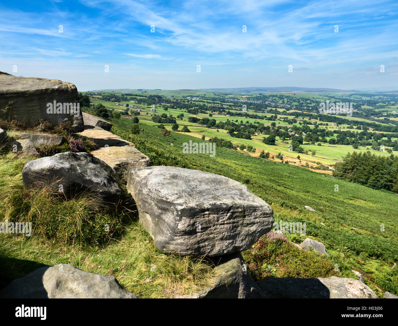 View over Wharfedale from Woodhouse Crag Ilkley Moor West Yorkshire England Stock Photo