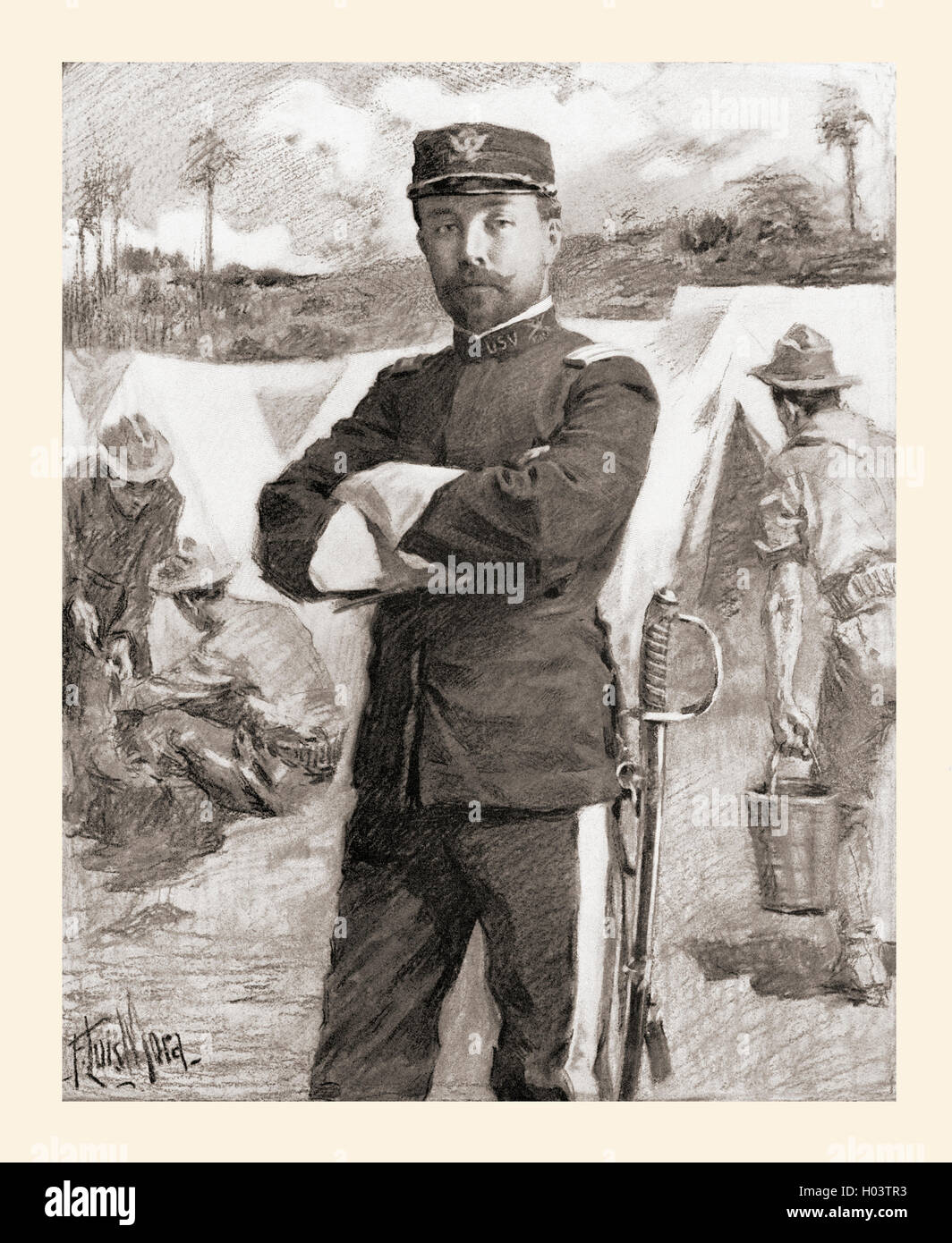 Brigadier General Frederick Funston of the 20th Kansas Volunteers just after his promotion for bravery  Frederick - Stock Image