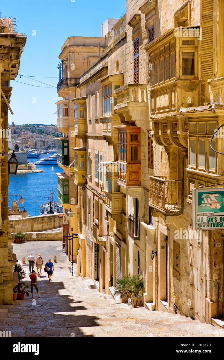 street scene in Valletta, Malta - Stock Image