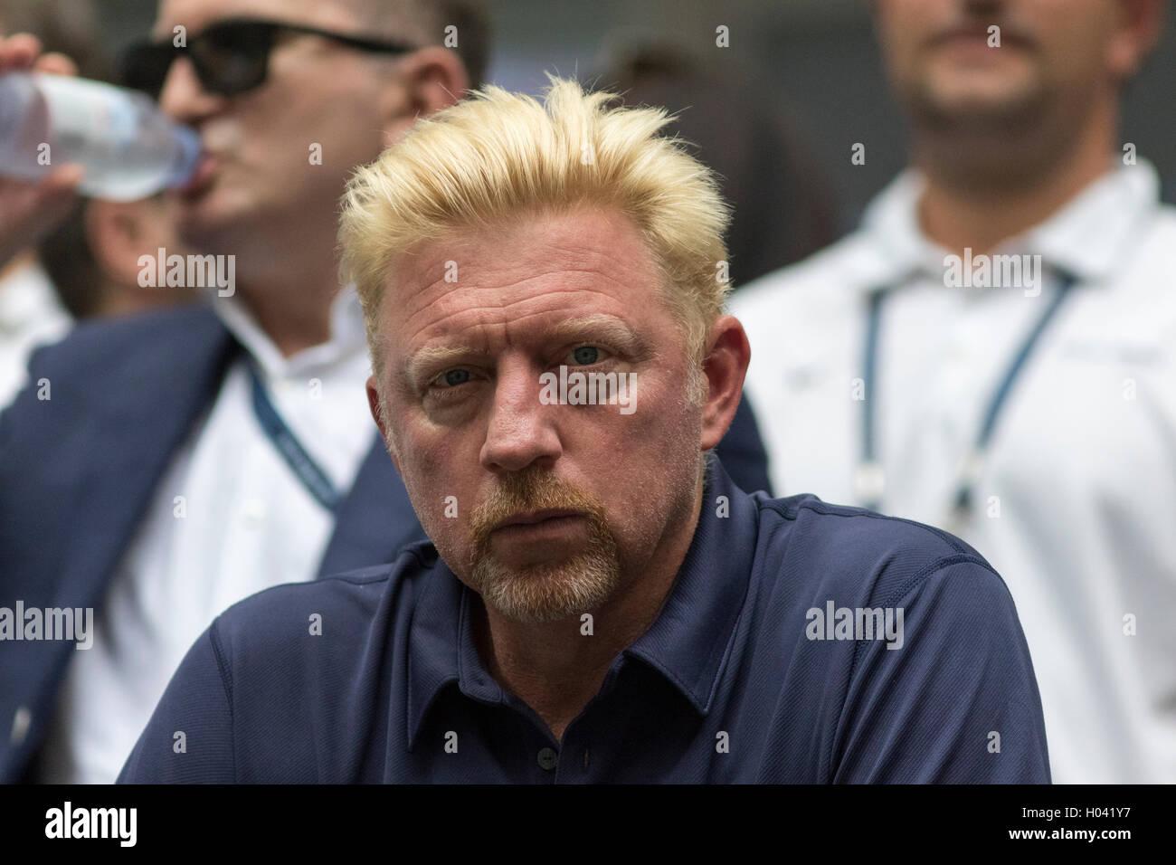 Novak Djokovic's (SRB) coach Boris Becker watching the 2016 US Open Men's Semi-Final - Stock Image