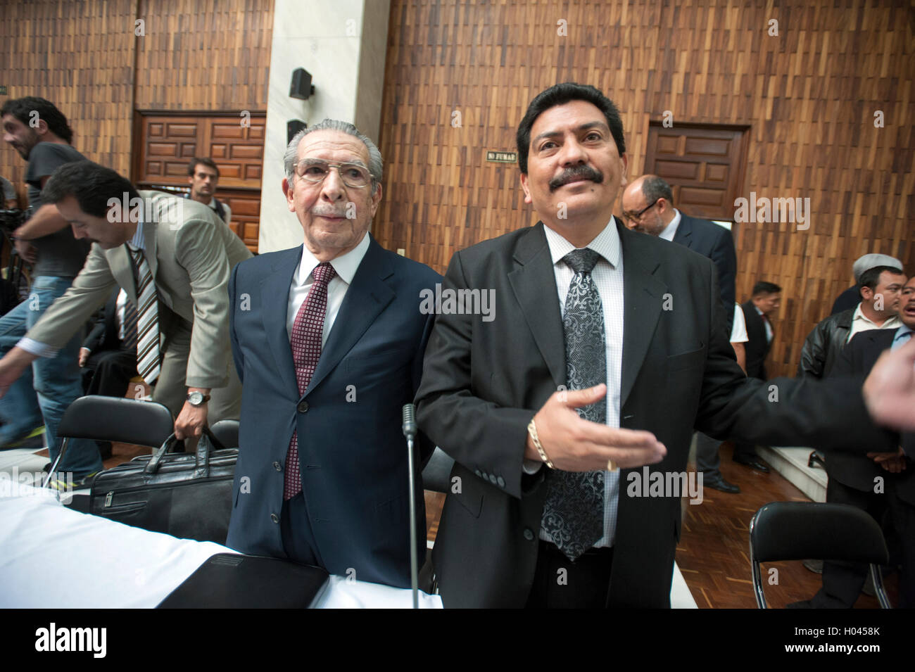 Rios Montt, left, and defense lawyer Francisco Garcia Gudiel at supreme court in Guatemala City_Genocide Trial Day - Stock Image