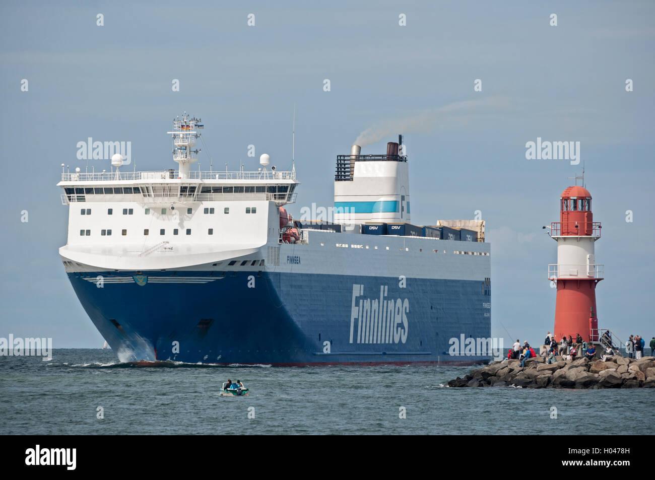 Finnlines ferry entering Rostock - Warnemünde on the Baltic Sea, Germany. - Stock Image