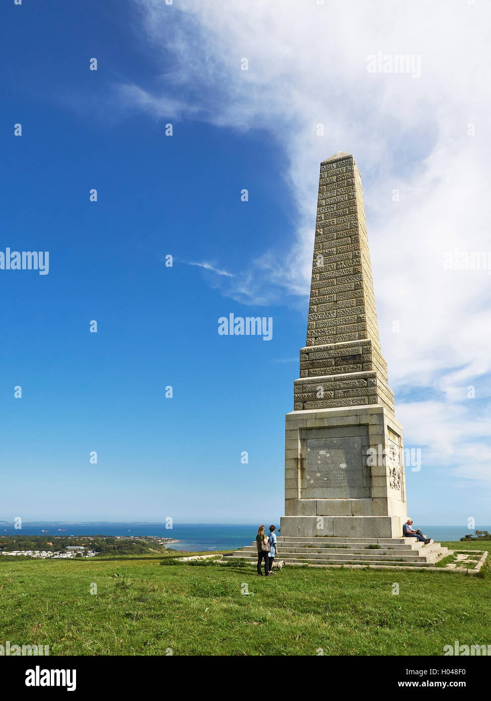 Isle of Wight Culver down Yarborough monument - Stock Image