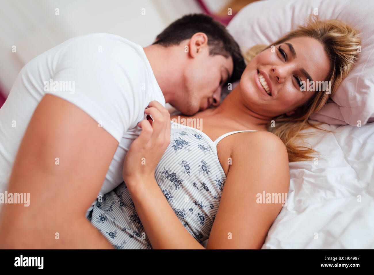 Handsome Couple In Love Bed Being Sensual