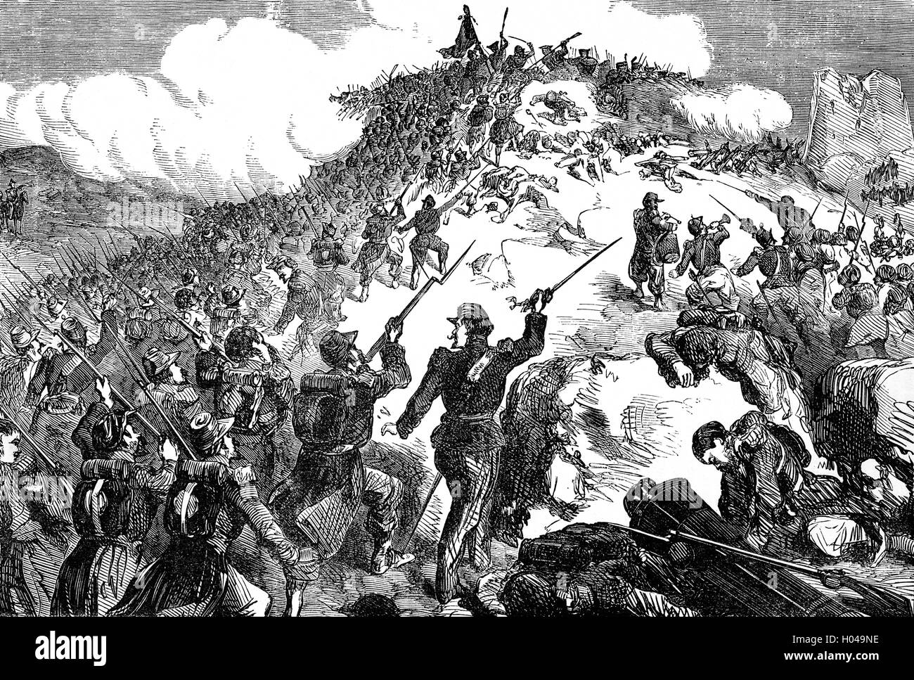 At the Siege of Sevastopol (1854–1855) during the Crimea War the French made three attempts to capture Mamelon, - Stock Image