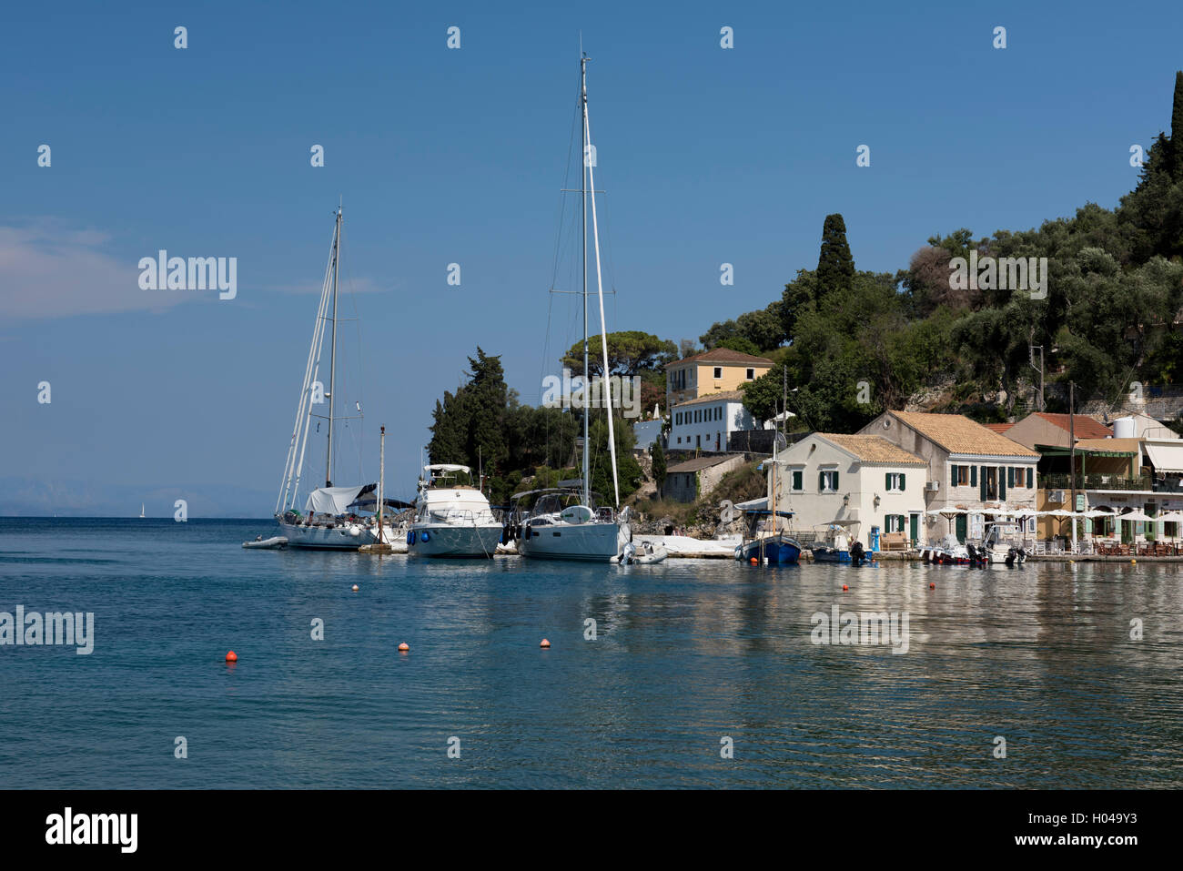 The picturesque harbour of Loggos on Paxos, The Ionian Islands, Greece, Europe - Stock Image