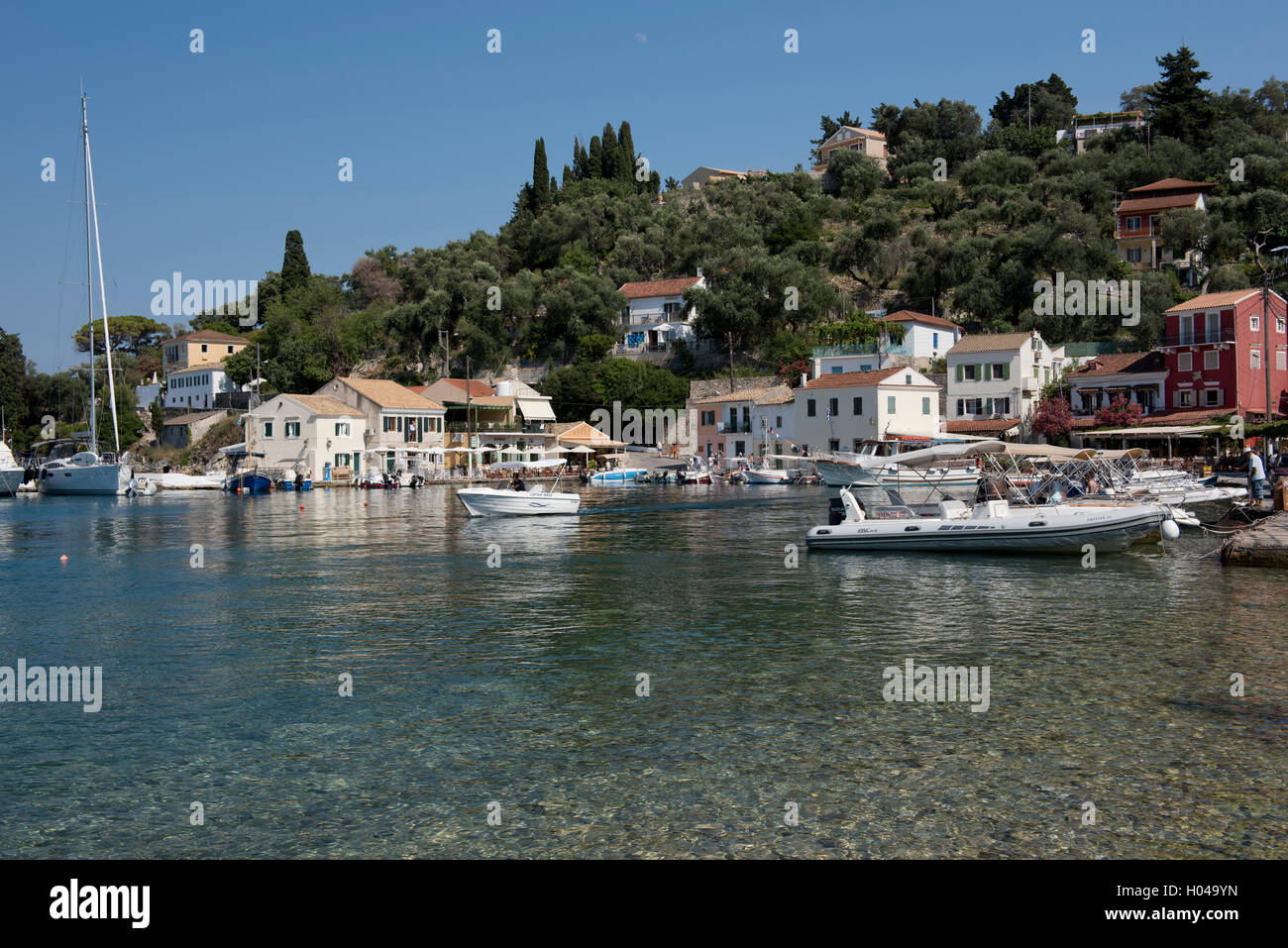 The picturesque harbour of Loggos on Paxos, The Ionian Islands, Geek Islands, Greece, Europe - Stock Image