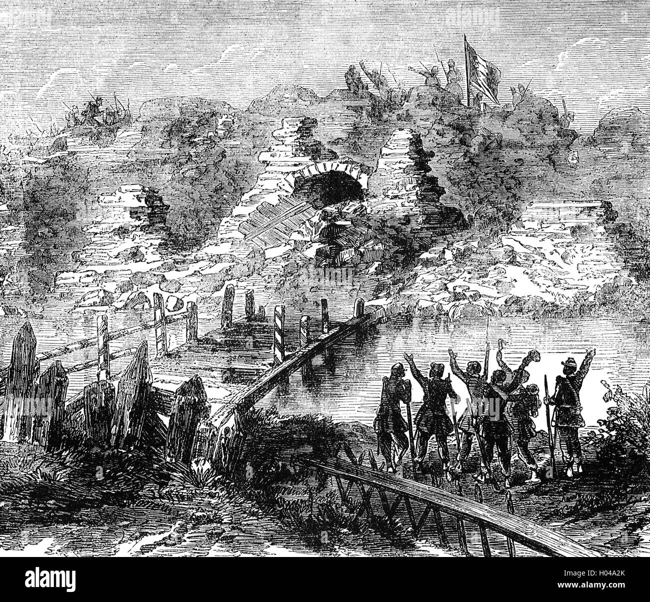 The fortress at Kinburn after the Battle of Kinburn on 17 October 1855, a combined land-naval engagement during - Stock Image