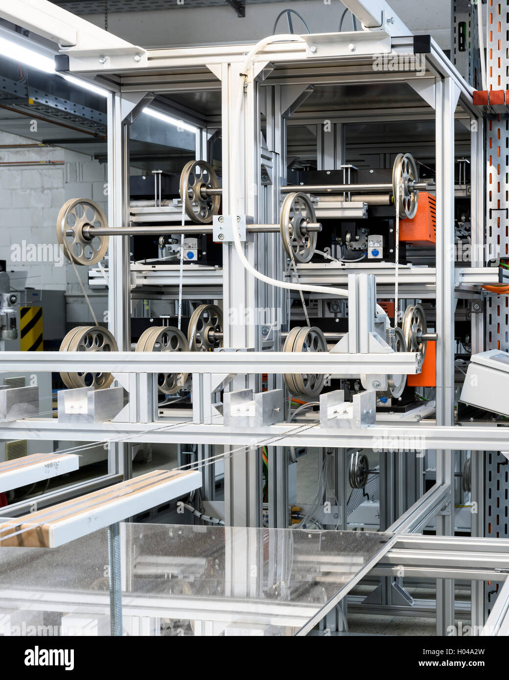 Steel ribbon on the production line. Harry's Razor Blade Factory, Eisfeld, Germany. Architect: -, 1920. Stock Photo