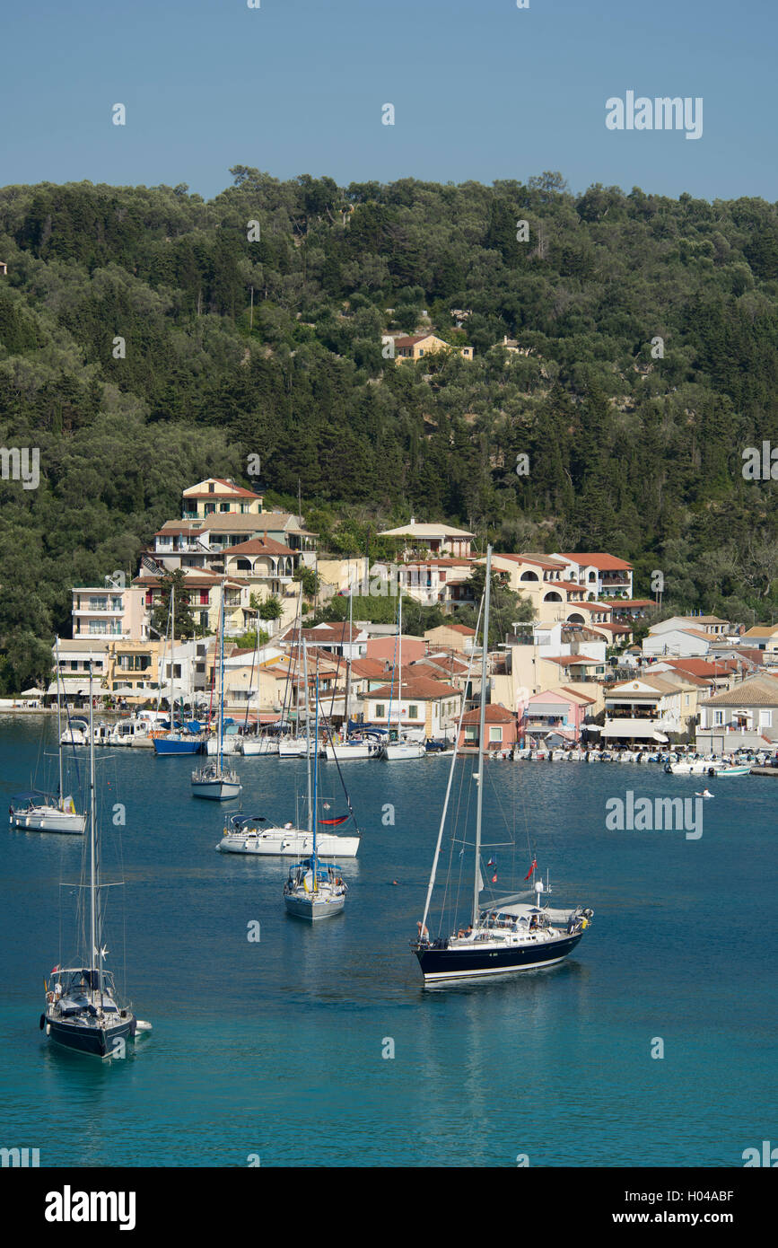 Sailing moored in Lakka harbour on Paxos, The Ionian Islands, The Greek Islands, Greece, Europe - Stock Image