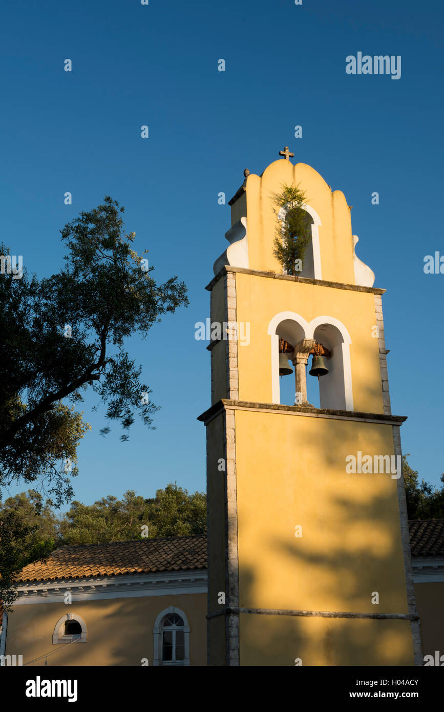 The belltower of Agios Constantinos on the island of Paxos, The Ionian Islands, Greece, Europe - Stock Image