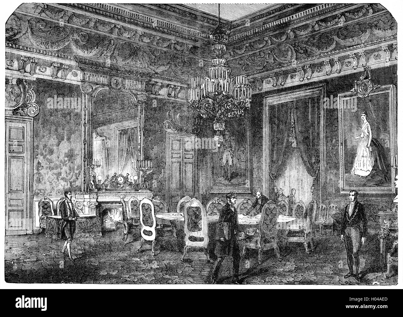 The Hall of Ambassadors where the Congress of Paris took place in 1856 to make peace after the almost three-year - Stock Image