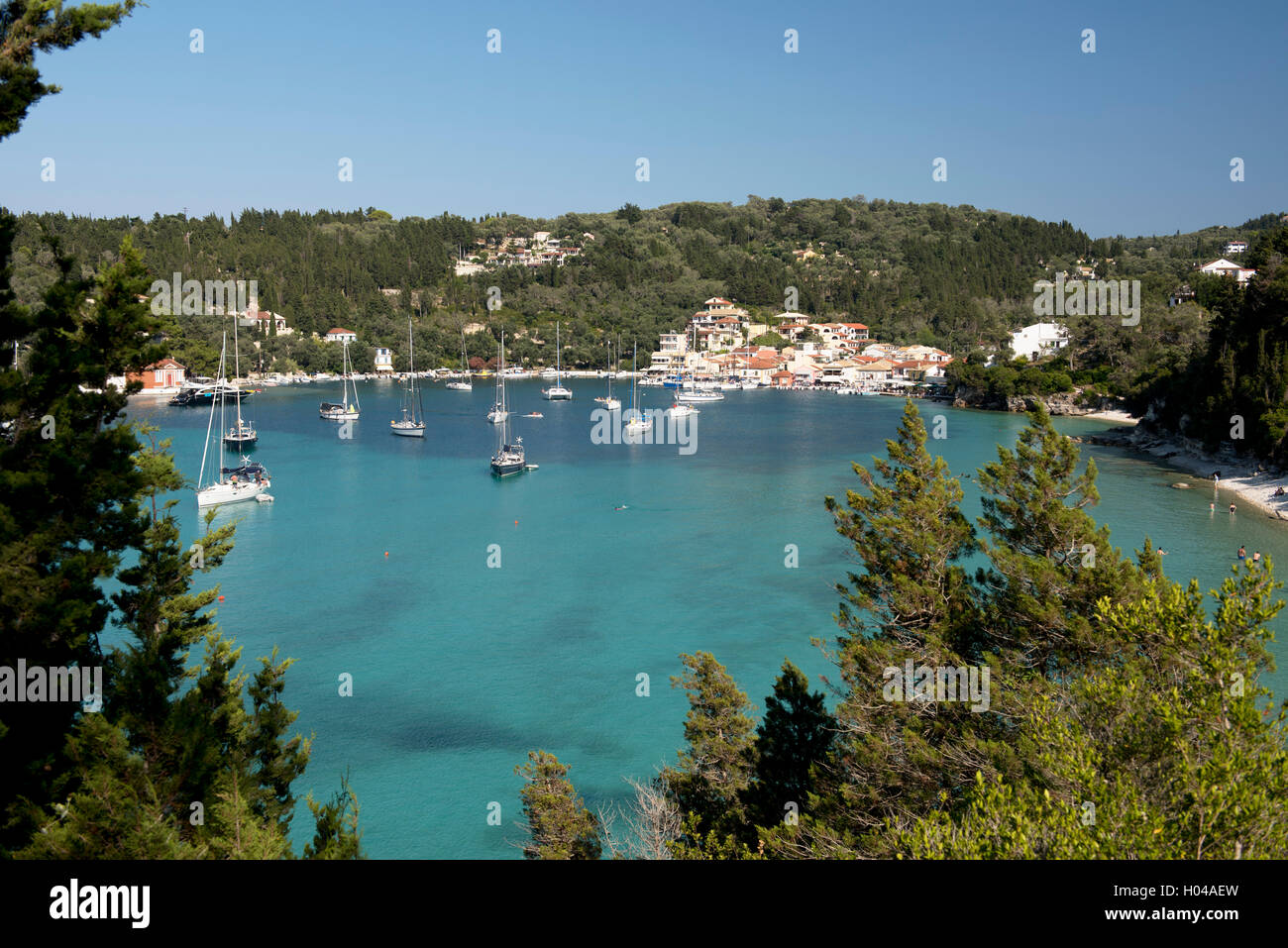 An aerial view of Lakka harbour and moored yachts, Paxos, The Ionian Islands, The Greek Islands, Greece, Europe - Stock Image