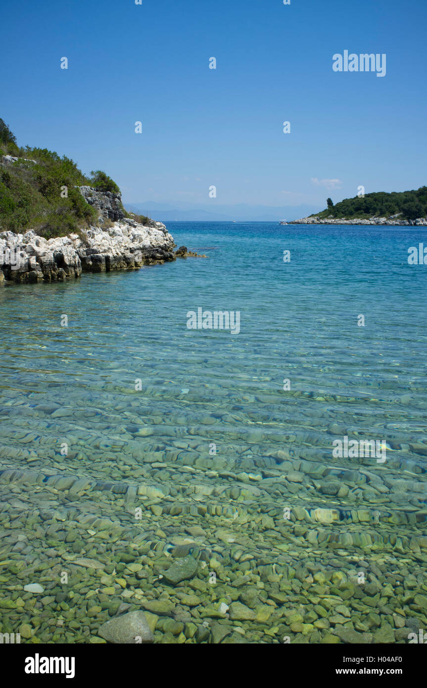 The cove at Lionarski on the southeast coast of Paxos,The Ionian Islands, The Greek Islands, Greece, Europe - Stock Image