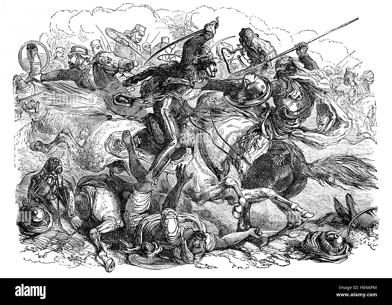 Mutineers pursued by cavalry during the Indian Rebellion  against the rule of the British East India Company, that - Stock Image
