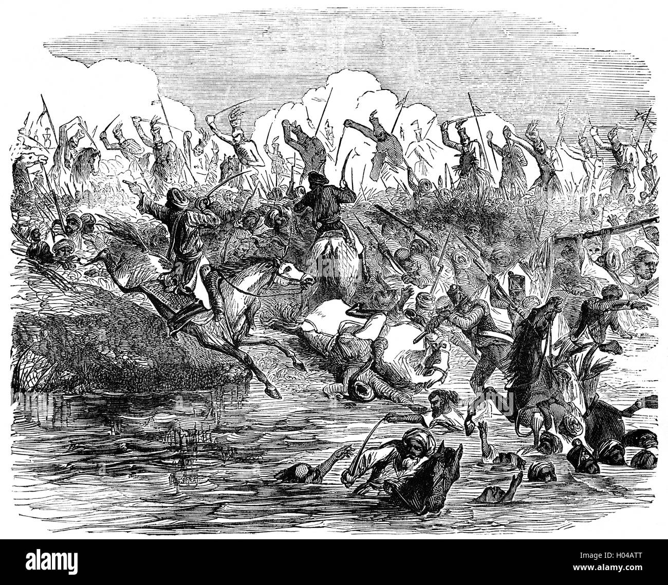 The British Army lead by Colonel Sir Edward Harris Greathed (1812 – 1881) chasing mutineers in the Battle of Agra - Stock Image