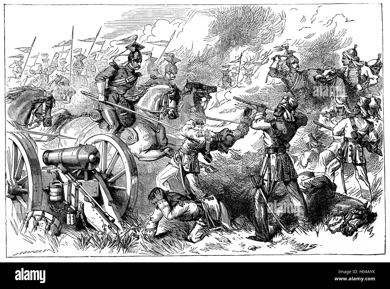 The capture of Indian Rebel cannon by Lieutenant  (later Field Marshal)  Frederick Sleigh Roberts, 1st Earl Roberts, - Stock Image
