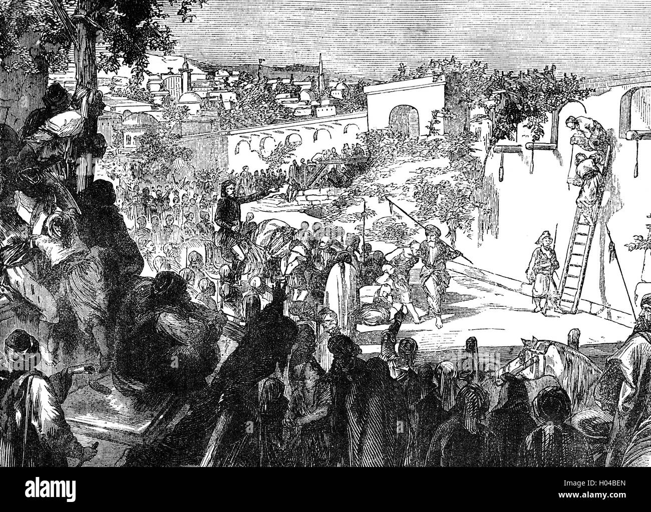 The execution of Druze during the 1860 Mount Lebanon civil war (also called  the 1860 Civil War in Syria). It was the culmination of a peasant uprising,  ...