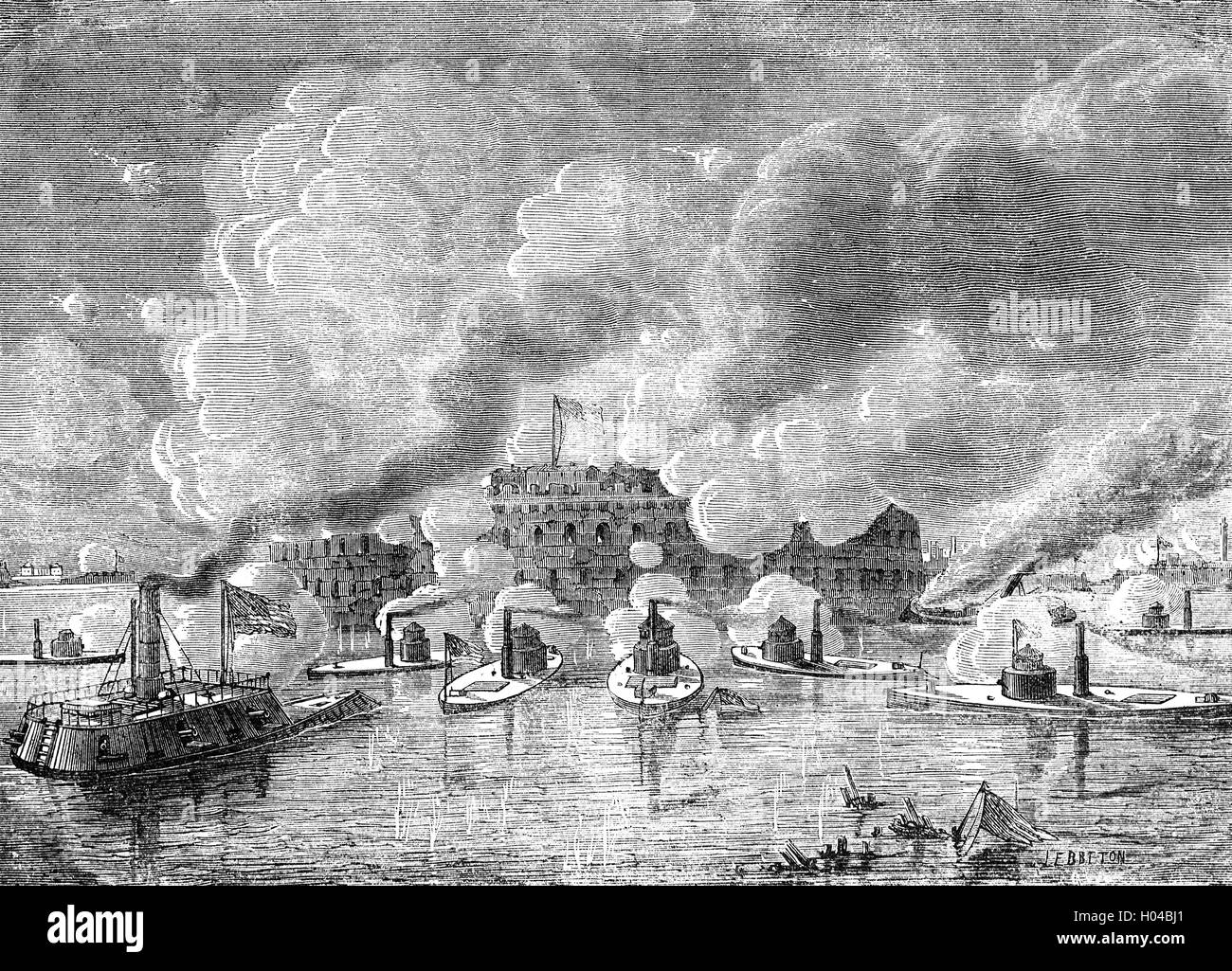 The attack on Fort Sumter, a special sea fort planned after the War of 1812.  The first shots of the American Civil - Stock Image